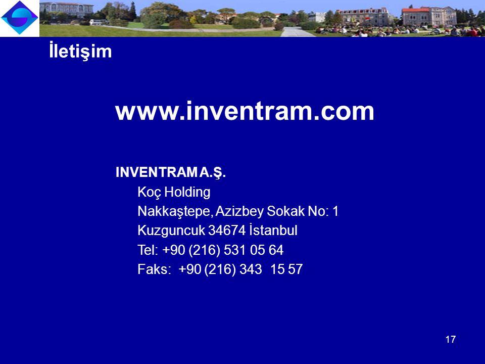 www.inventram.com INVENTRAM A.Ş. Koç Holding Nakkaştepe, Azizbey Sokak No: 1 Kuzguncuk 34674 İstanbul Tel: +90 (216) 531 05 64 Faks: +90 (216) 343 15