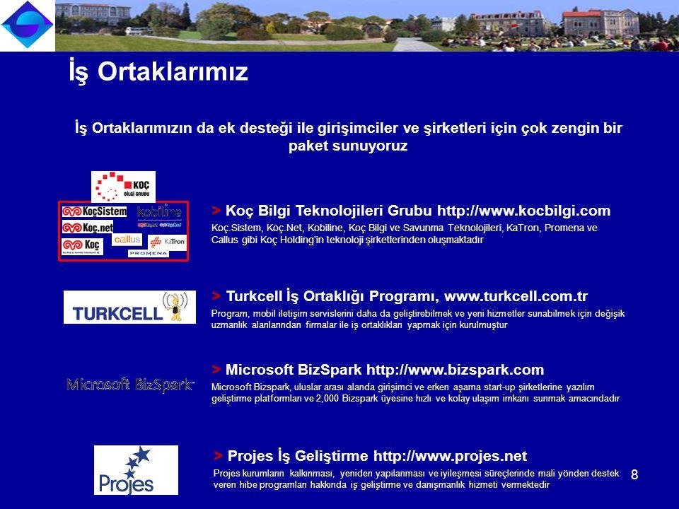 > Microsoft BizSpark http://www.bizspark.com Microsoft Bizspark, uluslar arası alanda girişimci ve erken aşama start-up şirketlerine yazılım geliştirm