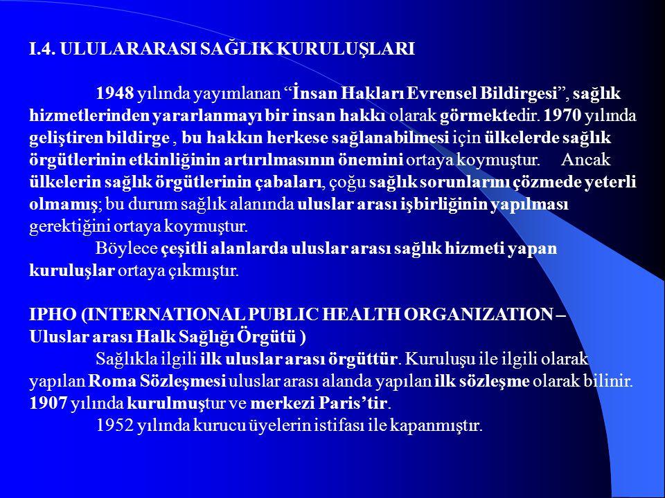 """I.4. ULULARARASI SAĞLIK KURULUŞLARI 1948 yılında yayımlanan """"İnsan Hakları Evrensel Bildirgesi"""", sağlık hizmetlerinden yararlanmayı bir insan hakkı ol"""