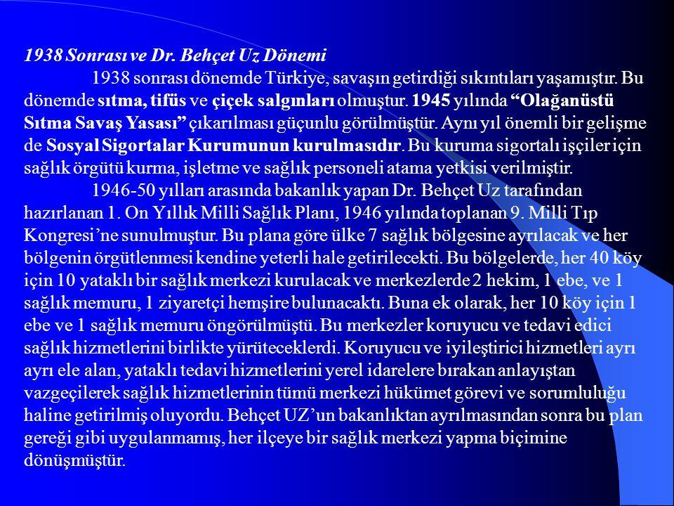 1938 Sonrası ve Dr. Behçet Uz Dönemi 1938 sonrası dönemde Türkiye, savaşın getirdiği sıkıntıları yaşamıştır. Bu dönemde sıtma, tifüs ve çiçek salgınla