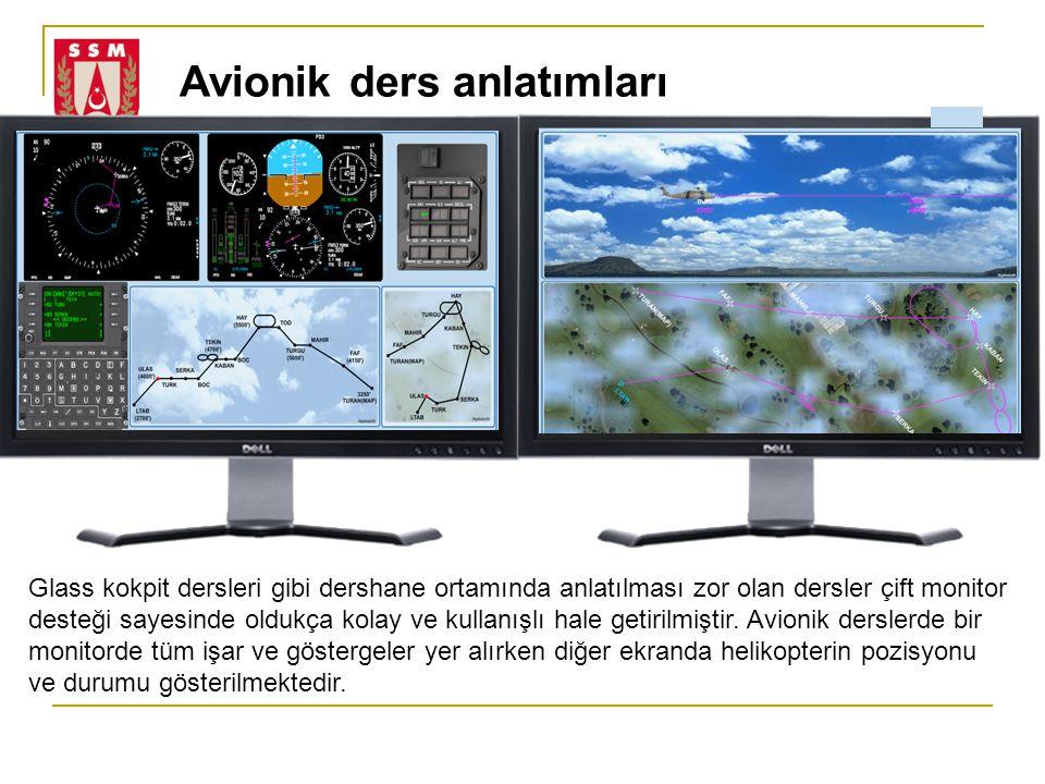 Avionik ders anlatımları Glass kokpit dersleri gibi dershane ortamında anlatılması zor olan dersler çift monitor desteği sayesinde oldukça kolay ve kullanışlı hale getirilmiştir.