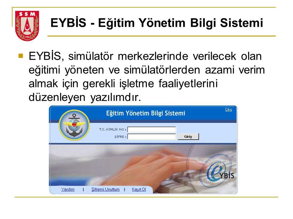 EYBİS - Eğitim Yönetim Bilgi Sistemi  EYBİS, simülatör merkezlerinde verilecek olan eğitimi yöneten ve simülatörlerden azami verim almak için gerekli