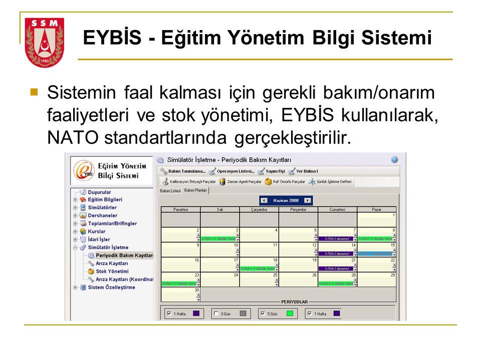 EYBİS - Eğitim Yönetim Bilgi Sistemi  Sistemin faal kalması için gerekli bakım/onarım faaliyetleri ve stok yönetimi, EYBİS kullanılarak, NATO standar