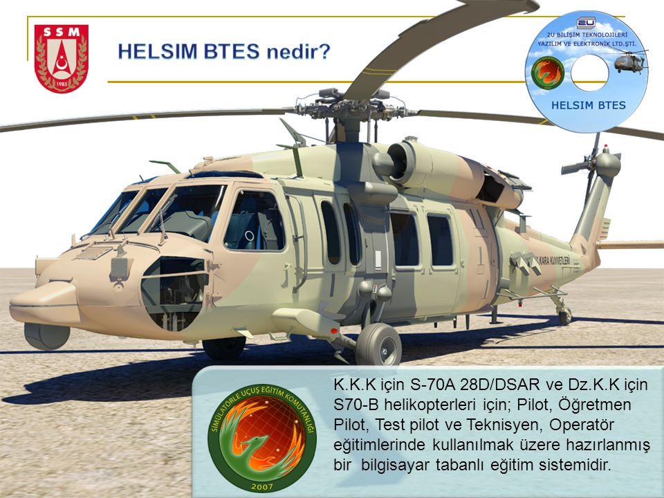 K.K.K için S-70A 28D/DSAR ve Dz.K.K için S70-B helikopterleri için; Pilot, Öğretmen Pilot, Test pilot ve Teknisyen, Operatör eğitimlerinde kullanılmak