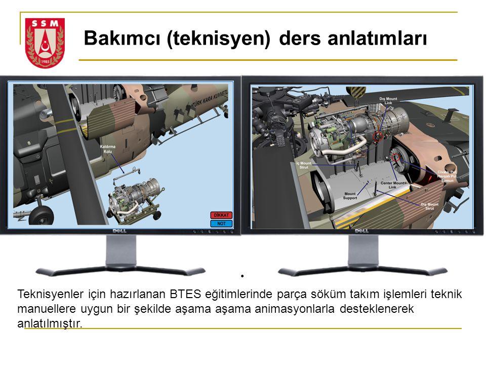 Teknisyenler için hazırlanan BTES eğitimlerinde parça söküm takım işlemleri teknik manuellere uygun bir şekilde aşama aşama animasyonlarla desteklener