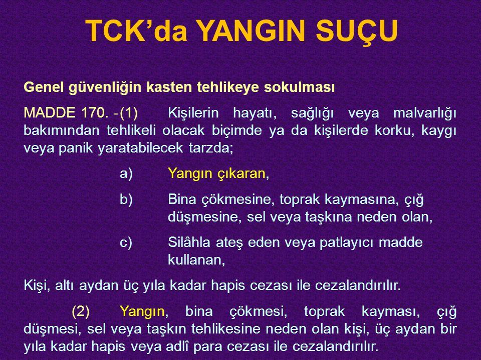 TCK'da YANGIN SUÇU Genel güvenliğin kasten tehlikeye sokulması MADDE 170. -(1)Kişilerin hayatı, sağlığı veya malvarlığı bakımından tehlikeli olacak bi