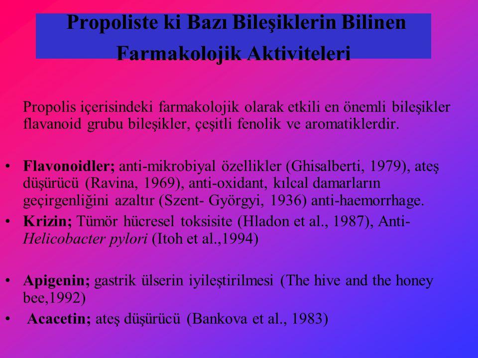 Propoliste ki Bazı Bileşiklerin Bilinen Farmakolojik Aktiviteleri Propolis içerisindeki farmakolojik olarak etkili en önemli bileşikler flavanoid grubu bileşikler, çeşitli fenolik ve aromatiklerdir.