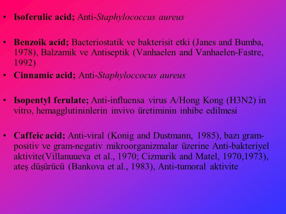 Isoferulic acid; Anti-Staphylococcus aureus Benzoik acid; Bacteriostatik ve bakterisit etki (Janes and Bumba, 1978), Balzamik ve Antiseptik (Vanhaelen and Vanhaelen-Fastre, 1992) Cinnamic acid; Anti-Staphyloccocus aureus Isopentyl ferulate; Anti-influensa virus A/Hong Kong (H3N2) in vitro, hemagglutininlerin invivo üretiminin inhibe edilmesi Caffeic acid; Anti-viral (Konig and Dustmann, 1985), bazı gram- positiv ve gram-negativ mikroorganizmalar üzerine Anti-bakteriyel aktivite(Villanuueva et al., 1970; Cizmarik and Matel, 1970,1973), ateş düşürücü (Bankova et al., 1983), Anti-tumoral aktivite