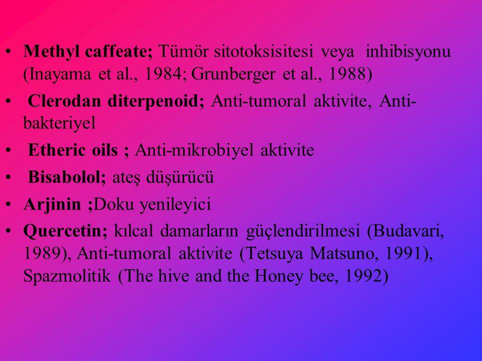 Methyl caffeate; Tümör sitotoksisitesi veya inhibisyonu (Inayama et al., 1984; Grunberger et al., 1988) Clerodan diterpenoid; Anti-tumoral aktivite, Anti- bakteriyel Etheric oils ; Anti-mikrobiyel aktivite Bisabolol; ateş düşürücü Arjinin ;Doku yenileyici Quercetin; kılcal damarların güçlendirilmesi (Budavari, 1989), Anti-tumoral aktivite (Tetsuya Matsuno, 1991), Spazmolitik (The hive and the Honey bee, 1992)