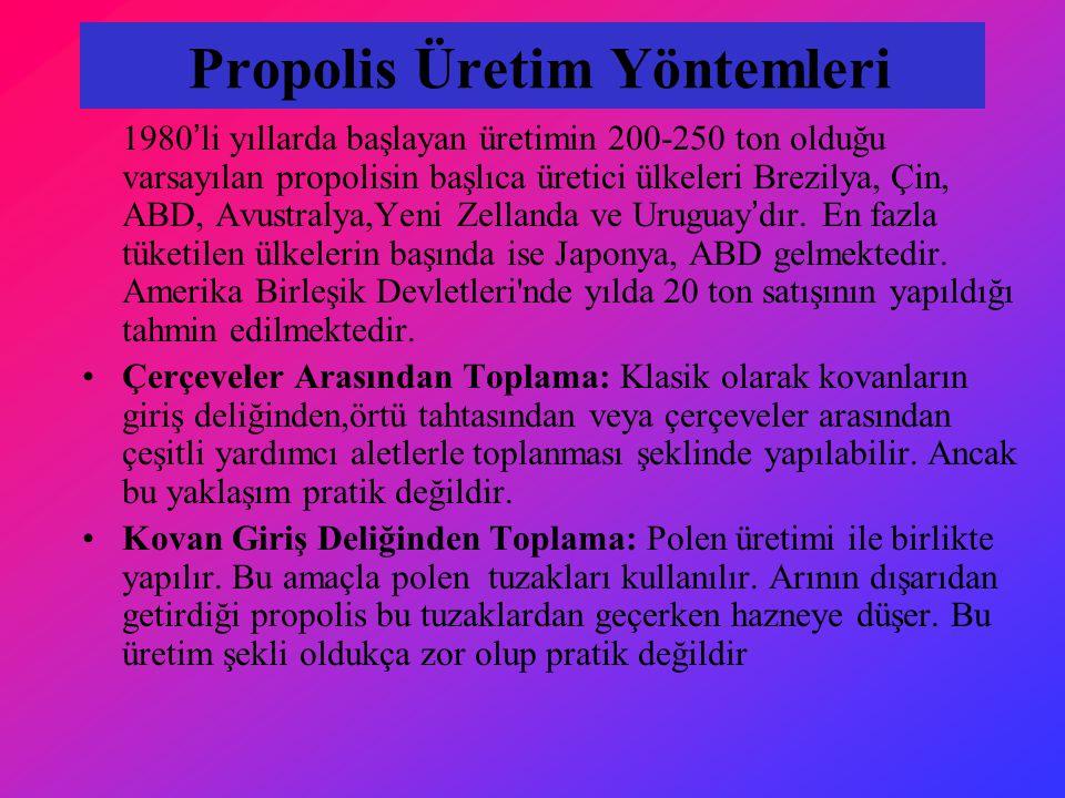 Propolis Üretim Yöntemleri 1980'li yıllarda başlayan üretimin 200-250 ton olduğu varsayılan propolisin başlıca üretici ülkeleri Brezilya, Çin, ABD, Avustralya,Yeni Zellanda ve Uruguay'dır.