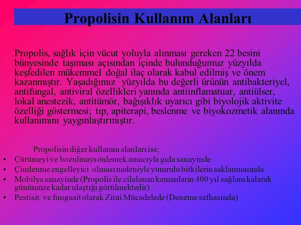 Propolisin Kullanım Alanları Propolis, sağlık için vücut yoluyla alınması gereken 22 besini bünyesinde taşıması açısından içinde bulunduğumuz yüzyılda keşfedilen mükemmel doğal ilaç olarak kabul edilmiş ve önem kazanmıştır.
