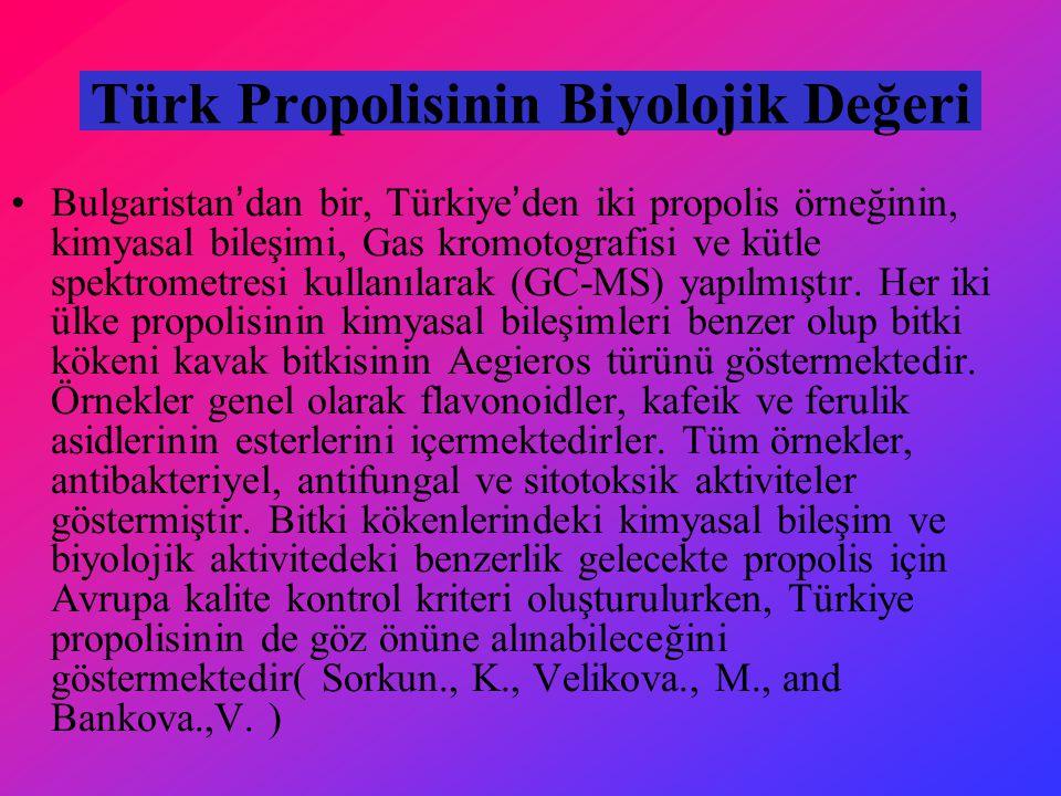 Türk Propolisinin Biyolojik Değeri Bulgaristan'dan bir, Türkiye'den iki propolis örneğinin, kimyasal bileşimi, Gas kromotografisi ve kütle spektrometresi kullanılarak (GC-MS) yapılmıştır.