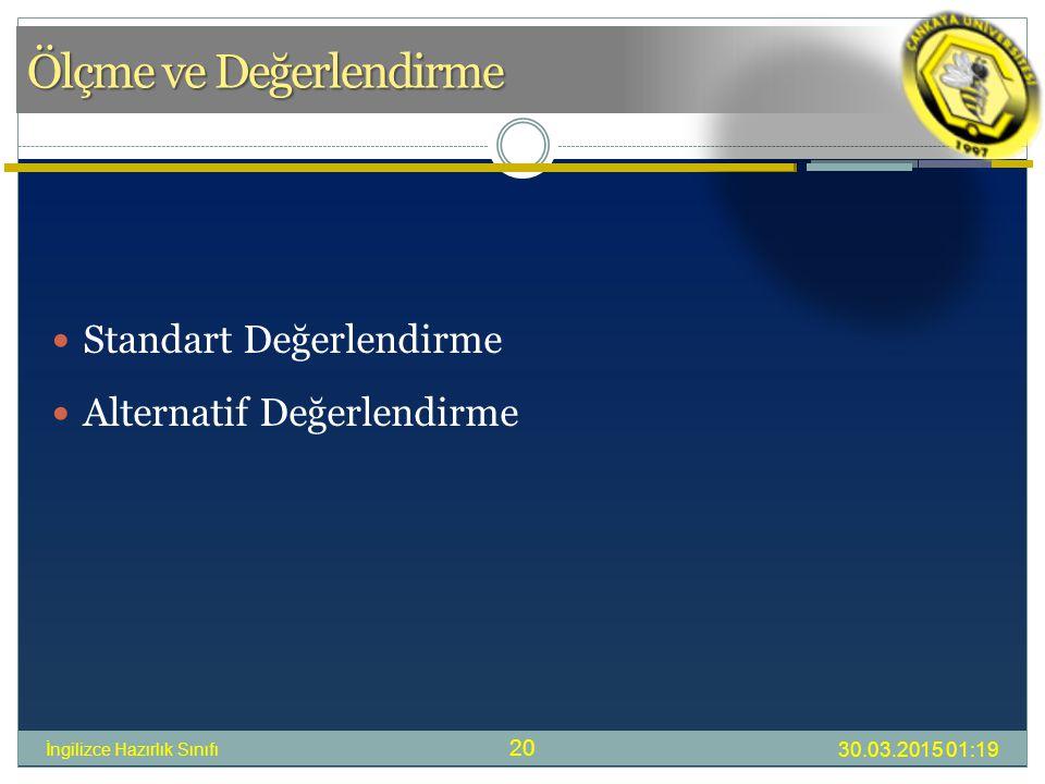 Ölçme ve Değerlendirme 30.03.2015 01:21 İngilizce Hazırlık Sınıfı 20 Standart Değerlendirme Alternatif Değerlendirme