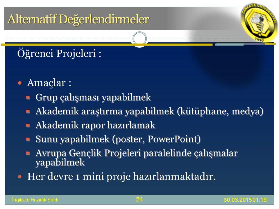 Alternatif Değerlendirmeler 30.03.2015 01:21 İngilizce Hazırlık Sınıfı 24 Öğrenci Projeleri : Amaçlar :  Grup çalışması yapabilmek  Akademik araştırma yapabilmek (kütüphane, medya)  Akademik rapor hazırlamak  Sunu yapabilmek (poster, PowerPoint)  Avrupa Gençlik Projeleri paralelinde çalışmalar yapabilmek Her devre 1 mini proje hazırlanmaktadır.