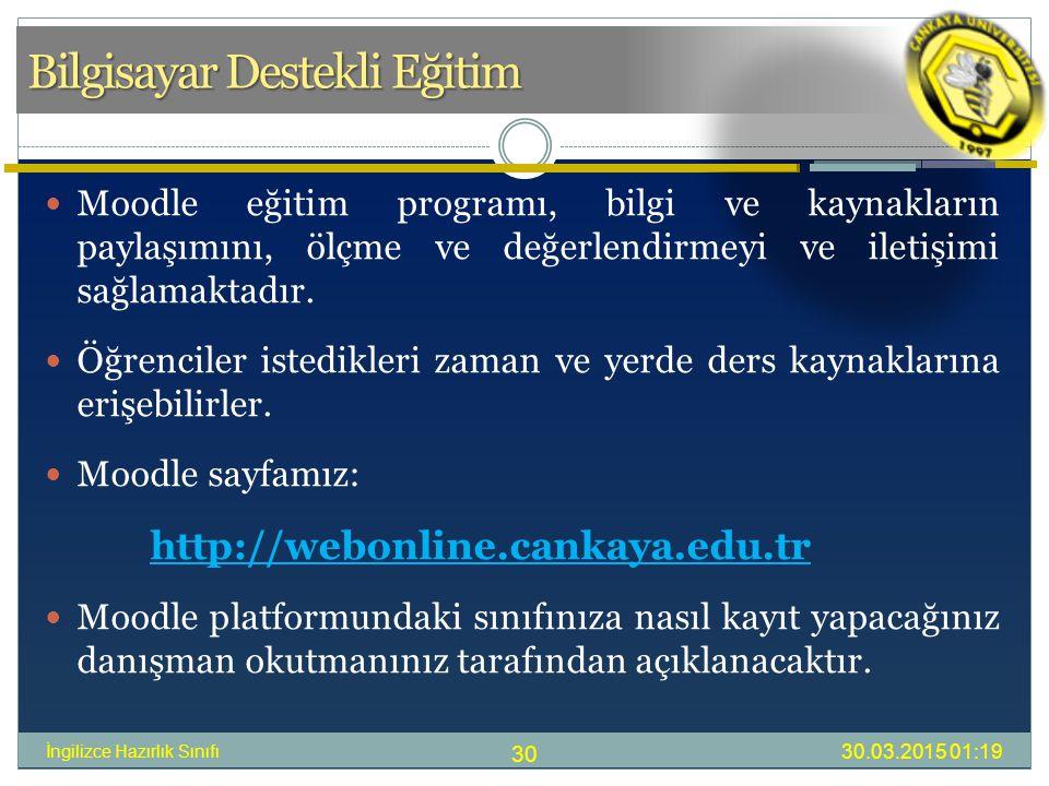 Bilgisayar Destekli Eğitim Moodle eğitim programı, bilgi ve kaynakların paylaşımını, ölçme ve değerlendirmeyi ve iletişimi sağlamaktadır.