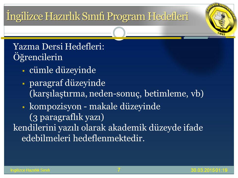 İngilizce Hazırlık Sınıfı Program Hedefleri 30.03.2015 01:21 İngilizce Hazırlık Sınıfı 7 Yazma Dersi Hedefleri: Öğrencilerin  cümle düzeyinde  paragraf düzeyinde (karşılaştırma, neden-sonuç, betimleme, vb)  kompozisyon - makale düzeyinde (3 paragraflık yazı) kendilerini yazılı olarak akademik düzeyde ifade edebilmeleri hedeflenmektedir.