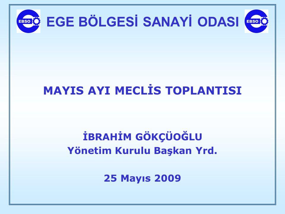EGE BÖLGESİ SANAYİ ODASI MAYIS AYI MECLİS TOPLANTISI İBRAHİM GÖKÇÜOĞLU Yönetim Kurulu Başkan Yrd. 25 Mayıs 2009