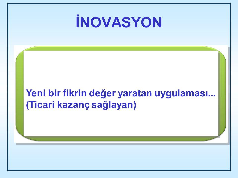 İNOVASYON Yeni bir fikrin değer yaratan uygulaması... (Ticari kazanç sağlayan)