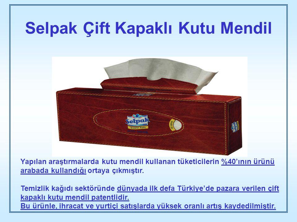 Selpak Çift Kapaklı Kutu Mendil Yapılan araştırmalarda kutu mendil kullanan tüketicilerin %40'ının ürünü arabada kullandığı ortaya çıkmıştır. Temizlik