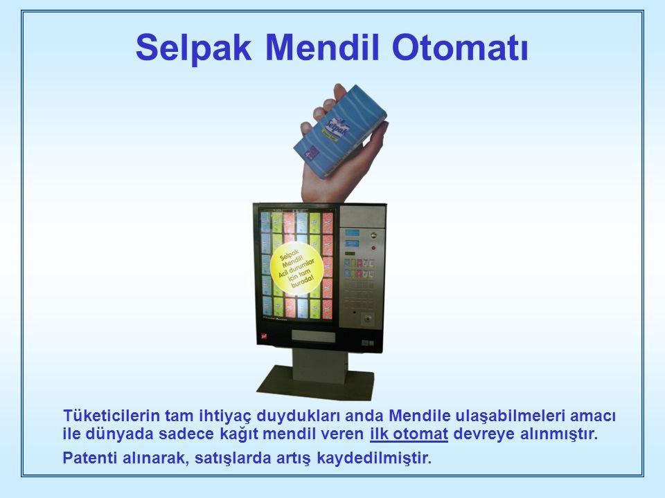 Selpak Mendil Otomatı Tüketicilerin tam ihtiyaç duydukları anda Mendile ulaşabilmeleri amacı ile dünyada sadece kağıt mendil veren ilk otomat devreye