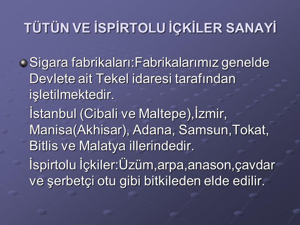 TÜTÜN VE İSPİRTOLU İÇKİLER SANAYİ Sigara fabrikaları:Fabrikalarımız genelde Devlete ait Tekel idaresi tarafından işletilmektedir. İstanbul (Cibali ve