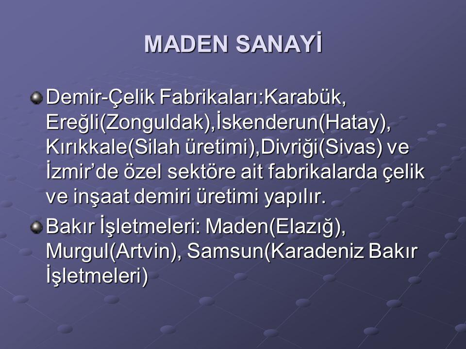 MADEN SANAYİ Demir-Çelik Fabrikaları:Karabük, Ereğli(Zonguldak),İskenderun(Hatay), Kırıkkale(Silah üretimi),Divriği(Sivas) ve İzmir'de özel sektöre ai
