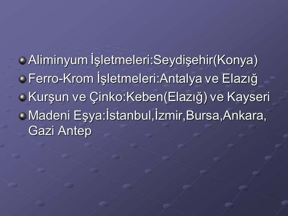 Aliminyum İşletmeleri:Seydişehir(Konya) Ferro-Krom İşletmeleri:Antalya ve Elazığ Kurşun ve Çinko:Keben(Elazığ) ve Kayseri Madeni Eşya:İstanbul,İzmir,B