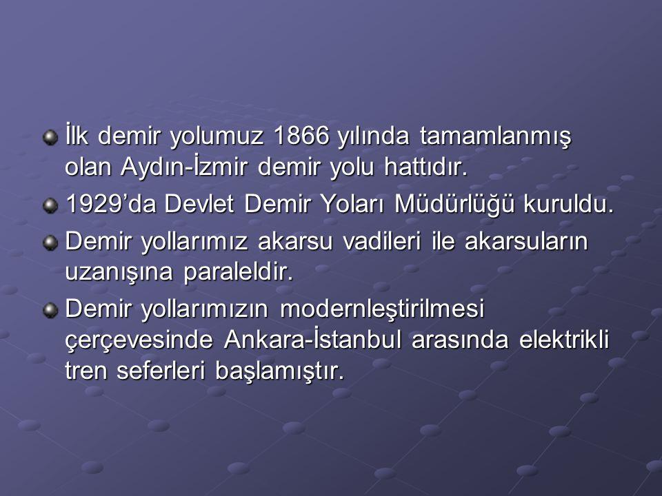 İlk demir yolumuz 1866 yılında tamamlanmış olan Aydın-İzmir demir yolu hattıdır. 1929'da Devlet Demir Yoları Müdürlüğü kuruldu. Demir yollarımız akars