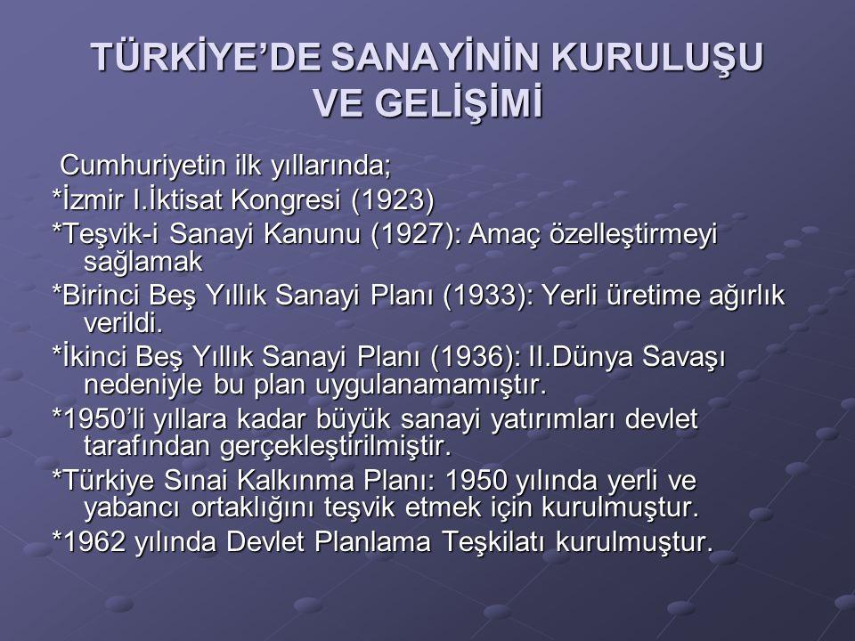 TÜRKİYE'DE SANAYİNİN KURULUŞU VE GELİŞİMİ Cumhuriyetin ilk yıllarında; Cumhuriyetin ilk yıllarında; *İzmir I.İktisat Kongresi (1923) *Teşvik-i Sanayi