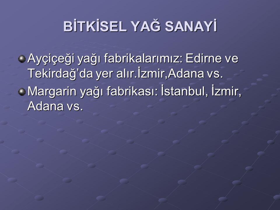 BİTKİSEL YAĞ SANAYİ Ayçiçeği yağı fabrikalarımız: Edirne ve Tekirdağ'da yer alır.İzmir,Adana vs. Margarin yağı fabrikası: İstanbul, İzmir, Adana vs.