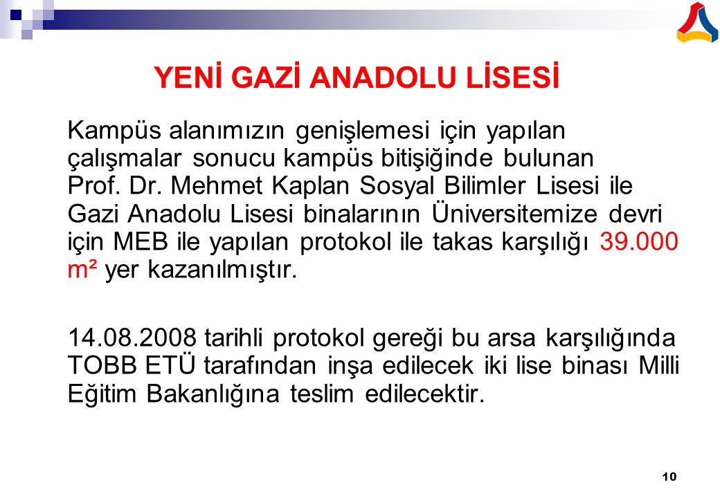 10 YENİ GAZİ ANADOLU LİSESİ Kampüs alanımızın genişlemesi için yapılan çalışmalar sonucu kampüs bitişiğinde bulunan Prof. Dr. Mehmet Kaplan Sosyal Bil