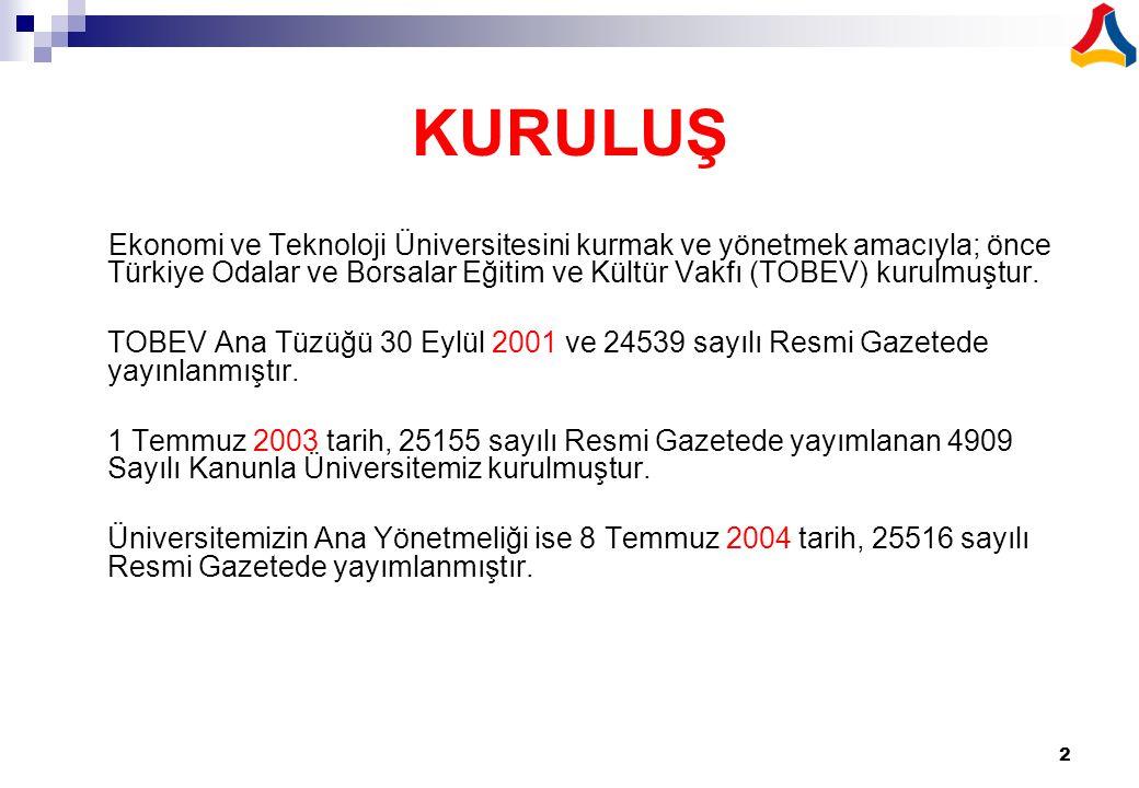 2 KURULUŞ Ekonomi ve Teknoloji Üniversitesini kurmak ve yönetmek amacıyla; önce Türkiye Odalar ve Borsalar Eğitim ve Kültür Vakfı (TOBEV) kurulmuştur.