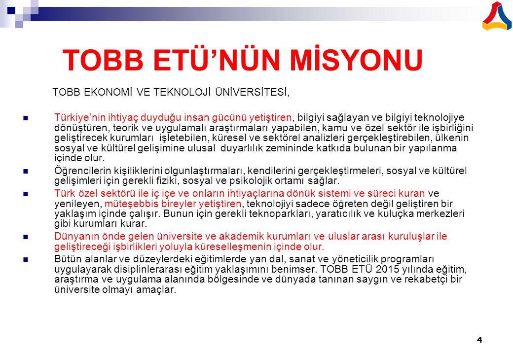 4 TOBB ETÜ'NÜN MİSYONU TOBB EKONOMİ VE TEKNOLOJİ ÜNİVERSİTESİ, Türkiye'nin ihtiyaç duyduğu insan gücünü yetiştiren, bilgiyi sağlayan ve bilgiyi teknol