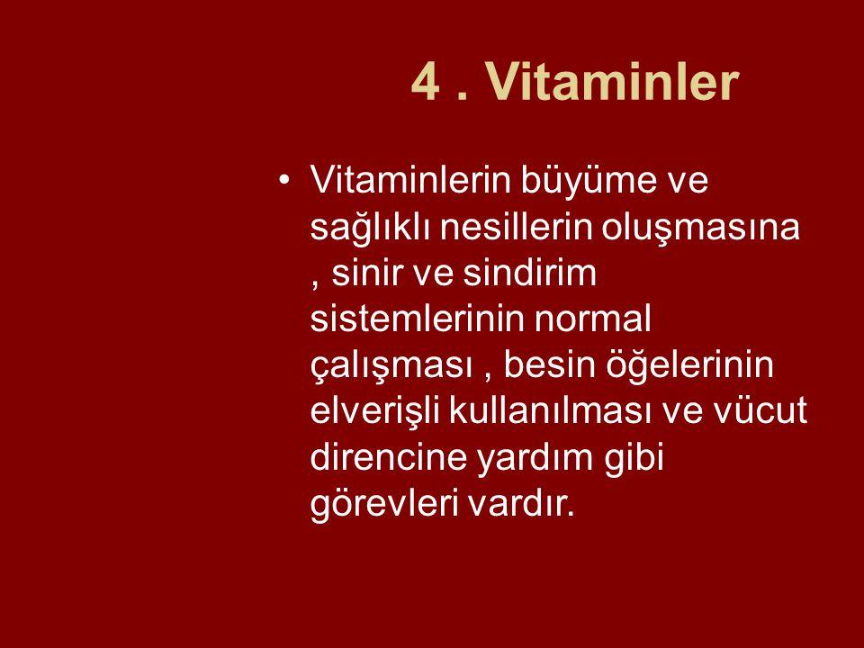 4. Vitaminler Vitaminlerin büyüme ve sağlıklı nesillerin oluşmasına, sinir ve sindirim sistemlerinin normal çalışması, besin öğelerinin elverişli kull