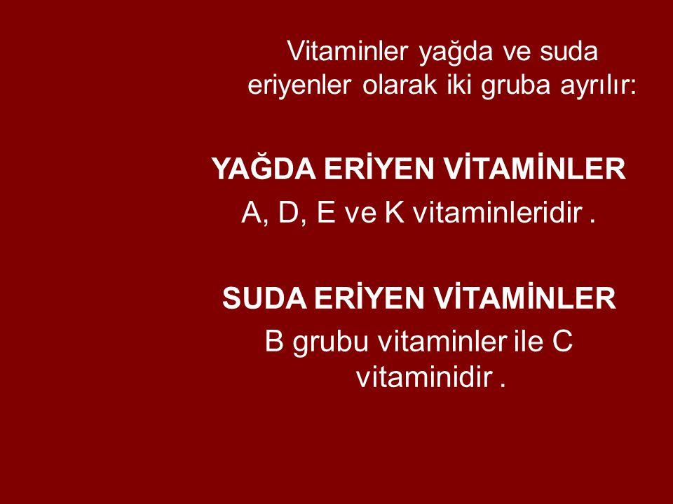 Vitaminler yağda ve suda eriyenler olarak iki gruba ayrılır: YAĞDA ERİYEN VİTAMİNLER A, D, E ve K vitaminleridir. SUDA ERİYEN VİTAMİNLER B grubu vitam