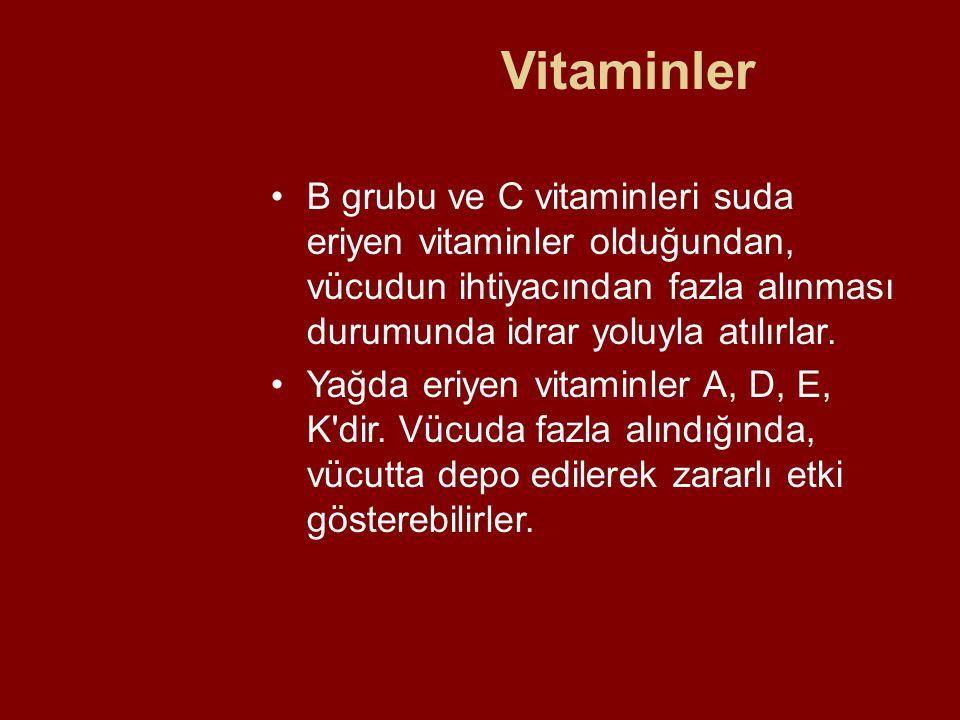 Vitaminler B grubu ve C vitaminleri suda eriyen vitaminler olduğundan, vücudun ihtiyacından fazla alınması durumunda idrar yoluyla atılırlar. Yağda er