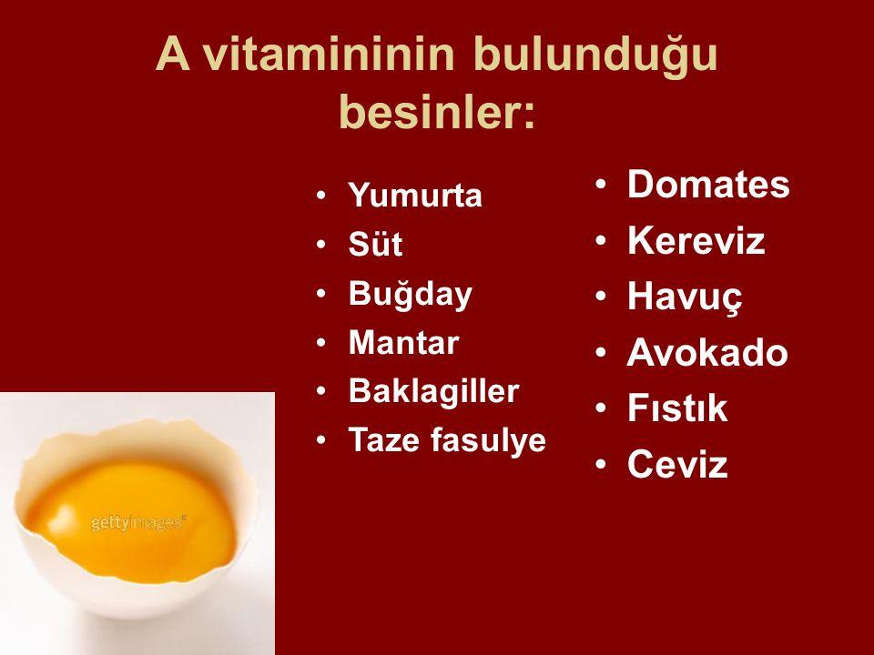 A vitamininin bulunduğu besinler: Yumurta Süt Buğday Mantar Baklagiller Taze fasulye Domates Kereviz Havuç Avokado Fıstık Ceviz