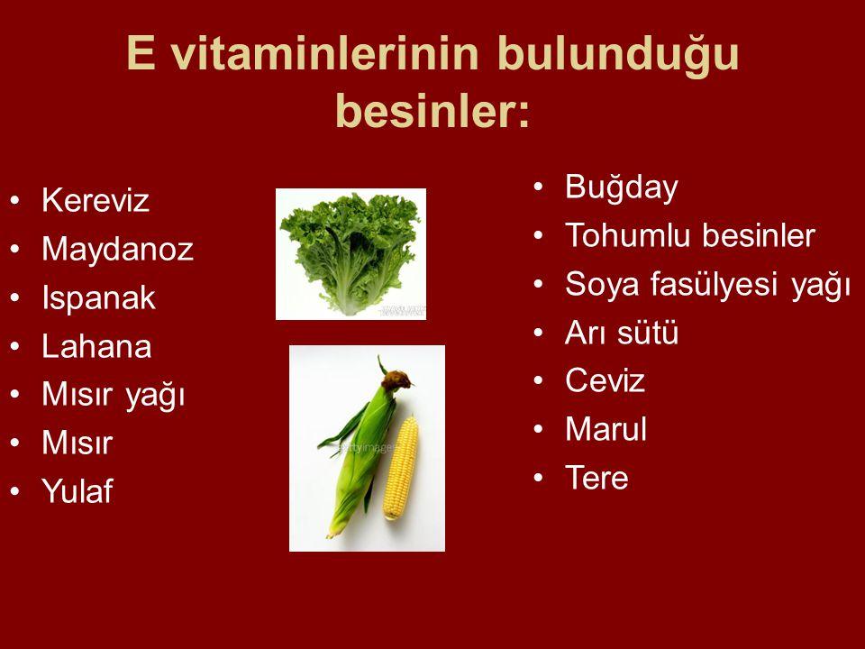 E vitaminlerinin bulunduğu besinler: Buğday Tohumlu besinler Soya fasülyesi yağı Arı sütü Ceviz Marul Tere Kereviz Maydanoz Ispanak Lahana Mısır yağı