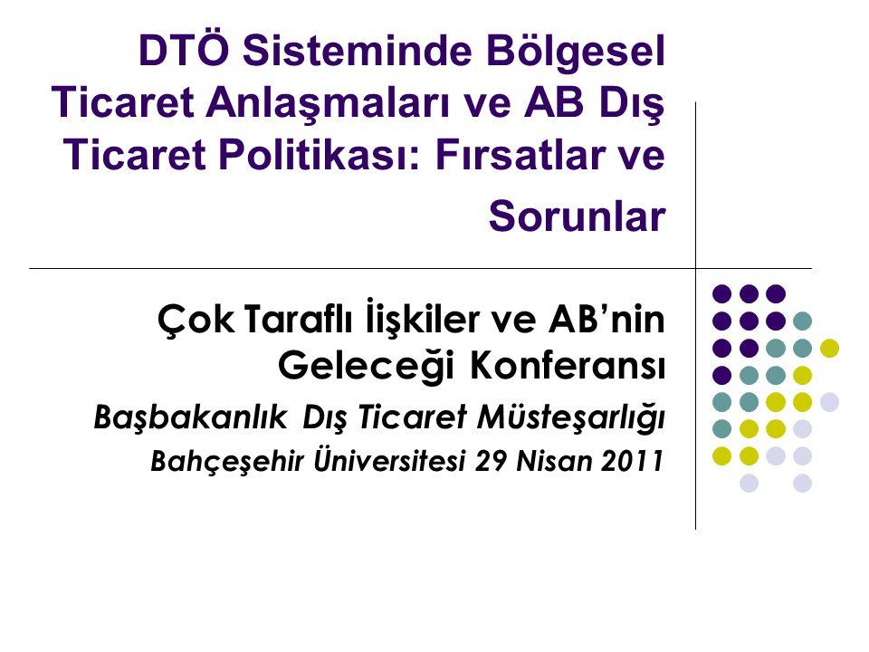 DTÖ Sisteminde Bölgesel Ticaret Anlaşmaları ve AB Dış Ticaret Politikası: Fırsatlar ve Sorunlar Çok Taraflı İişkiler ve AB'nin Geleceği Konferansı Başbakanlık Dış Ticaret Müsteşarlığı Bahçeşehir Üniversitesi 29 Nisan 2011