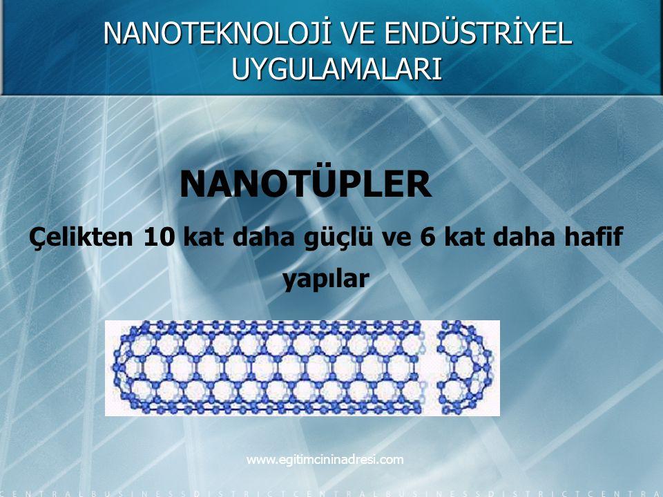 NANOTEKNOLOJİ VE ENDÜSTRİYEL UYGULAMALARI NANOTÜPLER Çelikten 10 kat daha güçlü ve 6 kat daha hafif yapılar www.egitimcininadresi.com