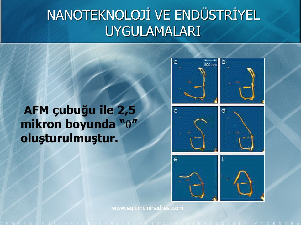 """NANOTEKNOLOJİ VE ENDÜSTRİYEL UYGULAMALARI AFM çubuğu ile 2,5 mikron boyunda """"  """" oluşturulmuştur. www.egitimcininadresi.com"""