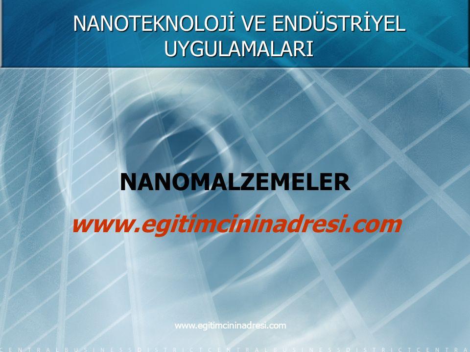 NANOTEKNOLOJİ VE ENDÜSTRİYEL UYGULAMALARI NANOMALZEMELER www.egitimcininadresi.com