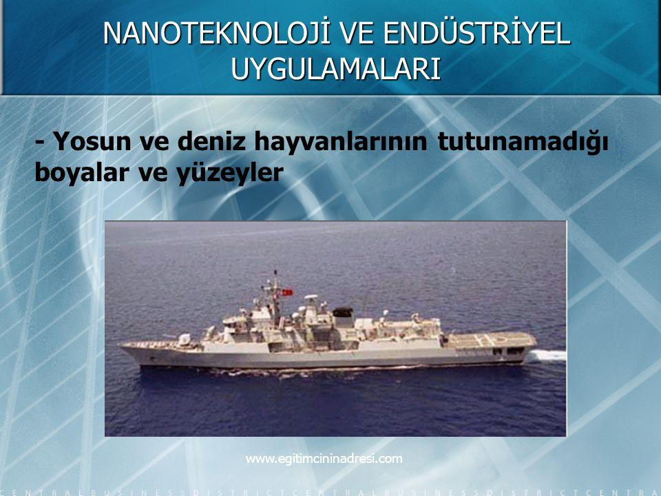 NANOTEKNOLOJİ VE ENDÜSTRİYEL UYGULAMALARI - Yosun ve deniz hayvanlarının tutunamadığı boyalar ve yüzeyler www.egitimcininadresi.com