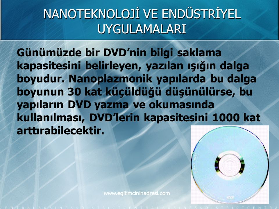 NANOTEKNOLOJİ VE ENDÜSTRİYEL UYGULAMALARI Günümüzde bir DVD'nin bilgi saklama kapasitesini belirleyen, yazılan ışığın dalga boyudur. Nanoplazmonik yap