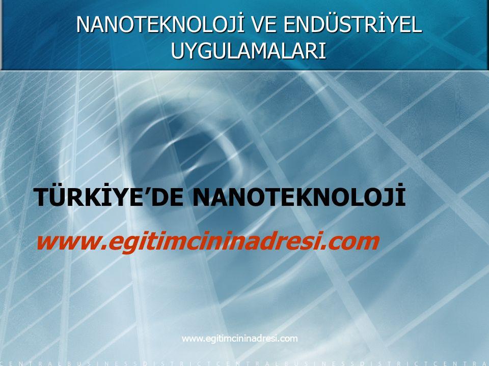 NANOTEKNOLOJİ VE ENDÜSTRİYEL UYGULAMALARI TÜRKİYE'DE NANOTEKNOLOJİ www.egitimcininadresi.com