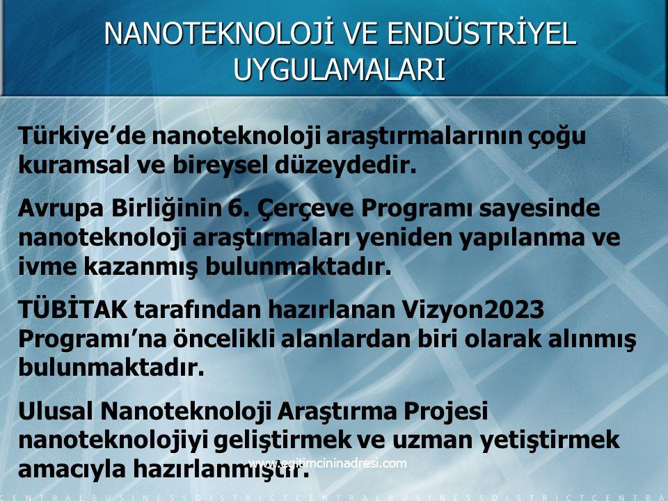 NANOTEKNOLOJİ VE ENDÜSTRİYEL UYGULAMALARI Türkiye'de nanoteknoloji araştırmalarının çoğu kuramsal ve bireysel düzeydedir. Avrupa Birliğinin 6. Çerçeve
