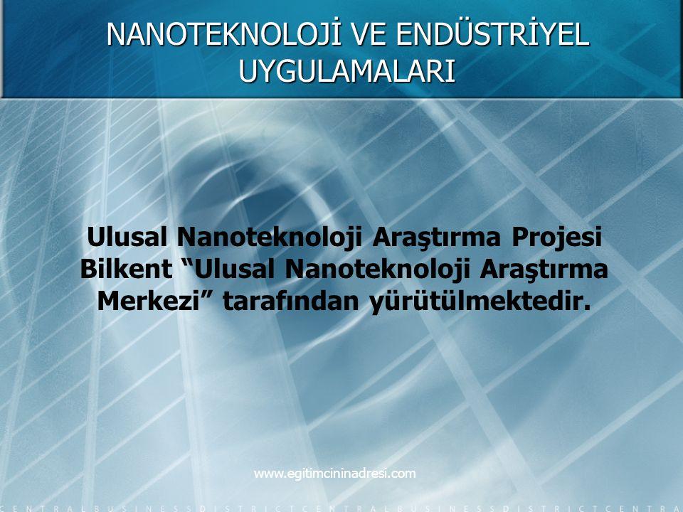 """NANOTEKNOLOJİ VE ENDÜSTRİYEL UYGULAMALARI Ulusal Nanoteknoloji Araştırma Projesi Bilkent """"Ulusal Nanoteknoloji Araştırma Merkezi"""" tarafından yürütülme"""