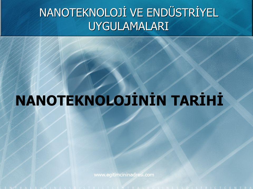NANOTEKNOLOJİ VE ENDÜSTRİYEL UYGULAMALARI NANOTEKNOLOJİNİN TARİHİ www.egitimcininadresi.com