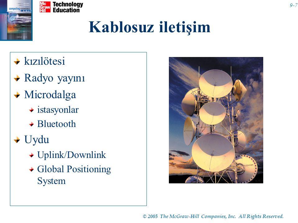 © 2005 The McGraw-Hill Companies, Inc. All Rights Reserved. 9-7 Kablosuz iletişim kızılötesi Radyo yayını Microdalga istasyonlar Bluetooth Uydu Uplink