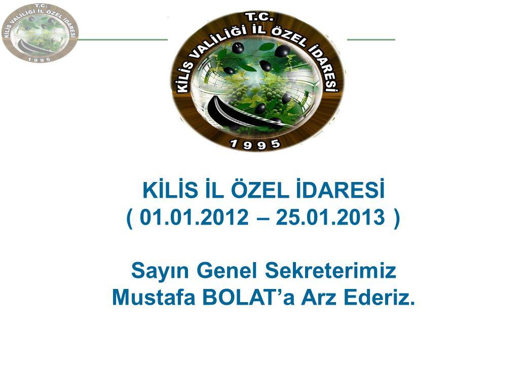 KİLİS İL ÖZEL İDARESİ ( 01.01.2012 – 25.01.2013 ) Sayın Genel Sekreterimiz Mustafa BOLAT'a Arz Ederiz.